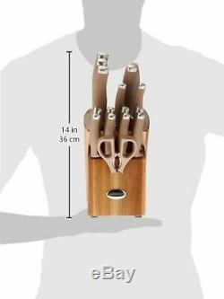 Anolon 46322 SureGrip Cutlery Knife Block Set, 17 Piece, Bronze