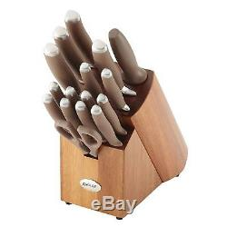 Anolon SureGrip 17-Piece Japanese Stainless Steel Knife Block Set Bronze