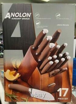 Anolon SureGrip Bronze 17 Piece Kitchen Knife Set