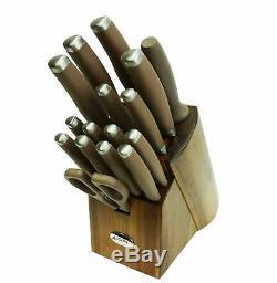 Anolon SureGrip Japanese Stainless Steel 17-Piece Knife Kitchen Block Set 46322