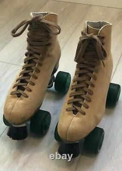 Antique SUEDE Sure-Grip Roller Skates Size 8 in PERFECT CONDITION Made in USA