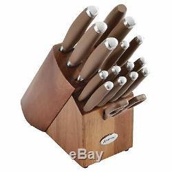 BRAND NEW Anolon SureGrip 17 Pc Japanese Stainless Steel Knife Block Set Bronze
