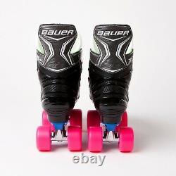 Bauer X-LS Quad Roller Skates Blue Sure-Grip Rock Plate Airwave Wheels