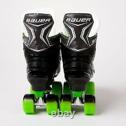 Bauer X-LS Quad Roller Skates Green Sure-Grip Rock Plate Sims Street Wheels