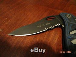 Knives Of Alaska Pocket Knife Model 701-s Blue& Black Suregrip Serrated Blade