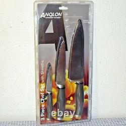 NEW ANOLON SUREGRIP 3PC JAPANESE FORGED HIGH CARBON SS CHEF KNIFE SET With SHEATHS