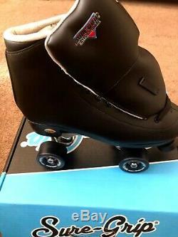 New Black Sure Grip Roller Skates Womens 10 Mens 9
