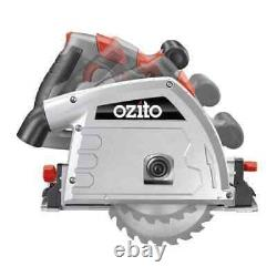 Ozito 165mm 1200W Plunge Track Saw Kit Adjustable depth of cut, Sure grip handle