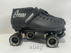 Riedell Carrera Speed Skates 105B/#2 Sure Grip Wheels Size 12 Black New Unused