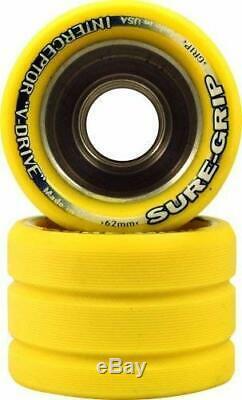 SET OF 8 Sure Grip Interceptor Quad Roller Skate Wheels YELLOW