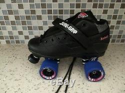 SURE GRIP Leather Rebel QUAD ROLLER SKATES derby Size 8 Fugitive wheels NEW box