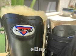 Sure Grip 93 Mens Size 7.5 Black Leather Artistic Skate Boots Shearling Tongue