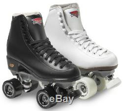 Sure-Grip Fame Vinyl Boot Roller Skates with Rock Plate & Bearings BLACK or WHITE