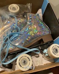Sure Grip Prism Plus Silver Holographic Roller Skates, size 6