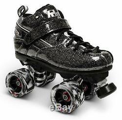 Sure-Grip Rock GT-50 Black Sparkle Quad Derby Roller Skates Size US 6