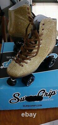 Sure-Grip Stardust Glitter Gold Roller Skates Mens 8 Womans 9 Hard to Find