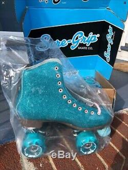 Sure-Grip Stardust Roller Skates Glitter Blue Women's Size 6