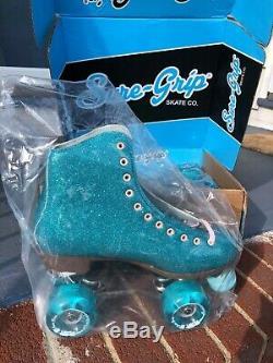 Sure-Grip Stardust Roller Skates Glitter Blue Women's Size 9