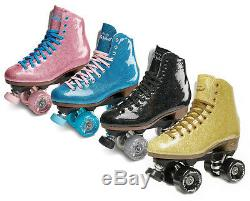 Sure-Grip Stardust Vinyl Glitter Boot Roller Skates BLACK BLUE PINK GOLD SZ 3-11