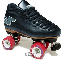 Sure-grip S55 Black Quad Speed/ Derby Roller Skate Package- Men's Size 4 & More