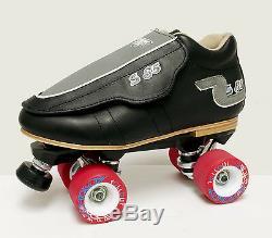 Sure-grip S85 Black Quad Speed/ Derby Roller Skate Package- Men's Size 4