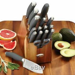 Anolon Suregrip 17 Pièces En Acier Inoxydable Japonais Couteau Block Set, Gris