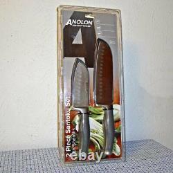 Anolon Suregrip 2piece Acier Inoxydable Japonais Santoku Knife Set W Gaines