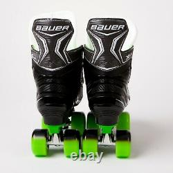 Bauer X-ls Quad Roller Patins Green Sure-grip Rock Plate Sims Street Roues