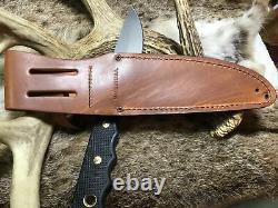 Couteaux D'alaska Knife Bush Camp Knife Suregrip Handles, Leather Sheath USA