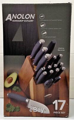 Ensemble De Couteaux Japonais 17 Pièces En Acier Inoxydable Anolon Suregrip Cutlery