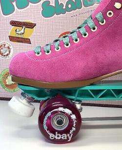 Moxi Lolly Fuchsia Patins Taille 8 + Sunlite Plaques Sure-grip Wheels. Prêt