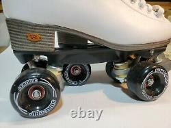 New Women's Riedell Roller Skates Stock # 111w Po# 29077 White Taille 9 Sure-grip