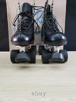 Nos Riedell Rollerkates Taille 7 1/2 220 Boot Sure Grip Rc Plus Médaillon Noir