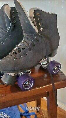 Nouveau Black Suede Quad Roller Skates Taille 5-5-7 (=dames 5-5-7) Sure Grip