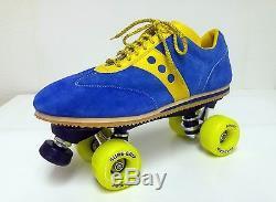 Nouveau Rare Patins À Roulettes Vintage Jogger Sure-grip Vintage En Bleu / Jaune - Taille Homme 11