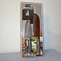 Nouvel Anolon Suregrip Japonais Stainless Steel Santoku 2-pc Knife Set With Sheaths