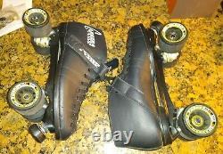 Rare Riedell Carrera Speed Roller Skates Mens 12 Black Sure Grip Look Inutilisé