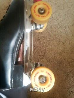 Riddell USA Made Sz. 12 Patins À Roulettes Quadruples Sure Grip Competitor 8 L En Cuir