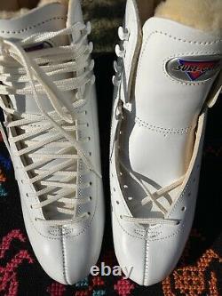 Sure Grip 93 Femmes 8 1/2 Bottes De Skate Artistique En Cuir Blanc