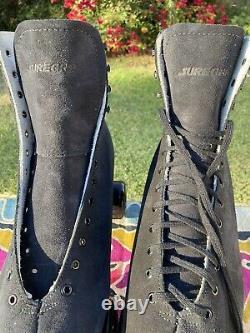 Sure Grip Boardwalk Mens Size 14 Roller Skates Black Suede Outdoor Package